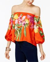 INC International Concepts Petite Floral-Print Off-The-Shoulder Top, Created for Macy's