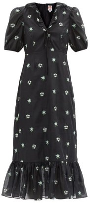 Shrimps Oakley Floral-embroidered Voile Midi Dress - Black Multi