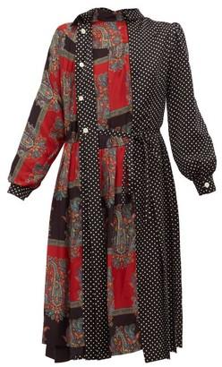 Junya Watanabe Polka-dot And Paisley-print Satin Dress - Black Multi