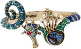 Betsey Johnson Gold-Tone Multi-Stone Seahorse Hinged Bangle Bracelet