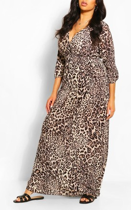 boohoo Plus Leopard Print Shirred Waist Wrap Maxi Dress