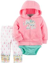 Carter's Baby Girl Elephant Sweatshirt, Bodysuit & Paisley Leggings Set