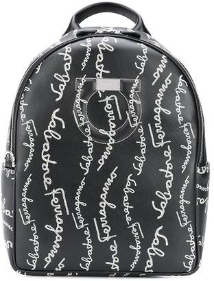 Salvatore Ferragamo Gancini-logo-print backpack