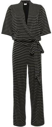 By Malene Birger Wrap-effect Metallic Striped Jersey Jumpsuit