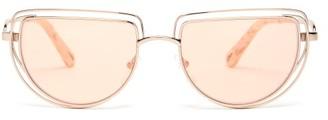 Chloé Carlina Half-moon Metal Sunglasses - Womens - Rose Gold