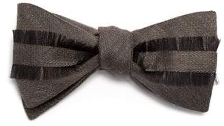 Title Of Work - Frayed Trim Silk And Linen Blend Bow Tie - Mens - Grey
