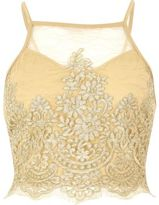 River Island Womens Gold sheer lace crop top