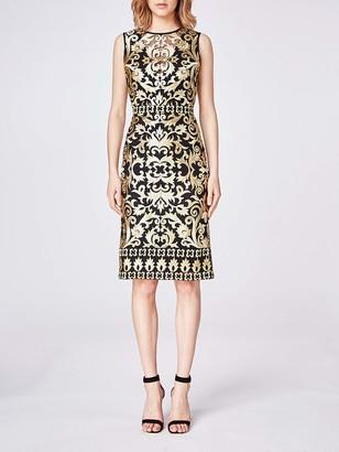 Nicole Miller Women's Scroll Embroidery Sleeveless Illusion Dress