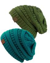 C&C Unisex Warm Chunky Soft Stretch Cable Knit Slouchy Beanie Skully-Teal/Olive