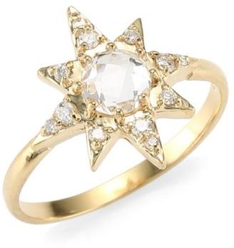 Anzie Aztec 14K Yellow Gold & Clear Topaz Starburst Ring