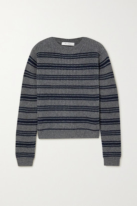 Max Mara Teano Striped Ribbed Wool And Cashmere-blend Sweater - Gray