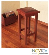 Novica Handcrafted Mohena and Leather 'Andean Empress' Bar Stool (Peru)