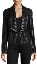 Bagatelle Cropped Leather Strip Combo Jacket, Black