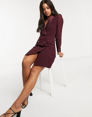 Morgan satin contrast tuxedo dress in berry