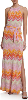 Trina Turk Speakeasy Chevron Halter Maxi Dress