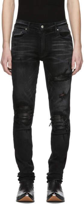 Amiri Black Leather Patch MX-1 Jeans