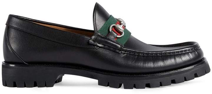 Gucci Leather Web Horsebit loafers