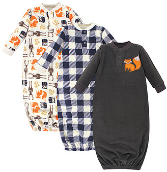 Hudson Baby Boys' Infant Gowns Forest - White & Navy Plaid & Forest Fleece Gown - Set of Three