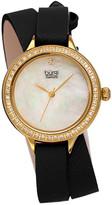 Burgi Women's Safiano Pattern Genuine Leather Double Wrap Strap Diamond Watch