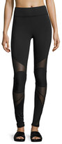 Michi Revolution Mesh-Panel Performance Leggings, Black