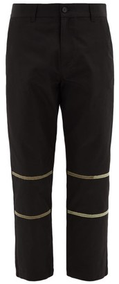 Adish - Embroidered-stripe Twill Trousers - Black