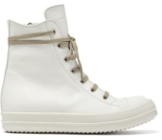 Rick Owens Leather High-top Trainers - Womens - White