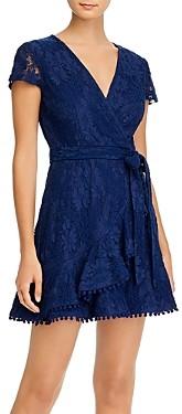 Aqua Lace Ruffled Faux-Wrap Dress - 100% Exclusive