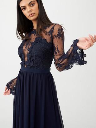 Forever Unique U Collection Lace Top Satin Belt Maxi Dress - Navy