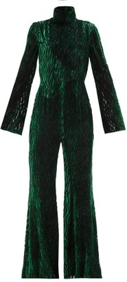 Halpern Metallic Animal-devore Jumpsuit - Green