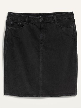 Old Navy Extra High-Waisted Secret-Slim Pockets Ripped Plus-Size Jean Skirt