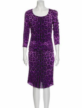 Dolce & Gabbana Silk Midi Length Dress Purple