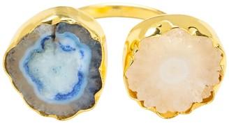 Yaa Yaa London Blue Cream Adjustable Gemstone Gold 'So Solar' Ring