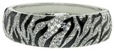 "Gem Stone King 8"" Black and High Shine Metal & CZ Bangle Bracelet with Spring Closure"