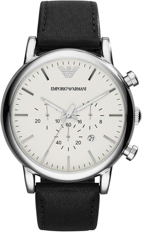 Emporio Armani Men's Chronograph Black Leather Strap Watch 46mm AR1807