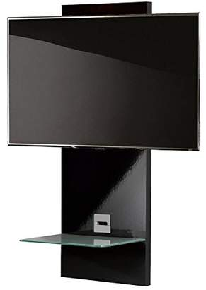 """VCM Scala-1"""" Wall Furniture with LED/LCD Wall Mount and Glass Shelve, Black"""