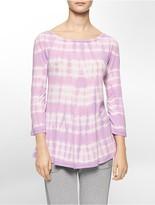 Calvin Klein Performance Tie Dye Stripe Roll-Up Sleeve Tunic