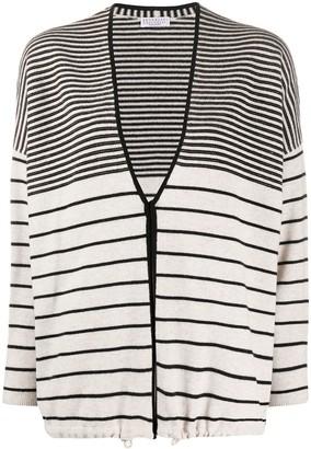 Brunello Cucinelli Striped Drawstring-Hem Cardigan