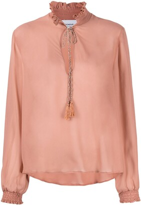 Dondup Semi-Sheer Ruffle-Collar Blouse