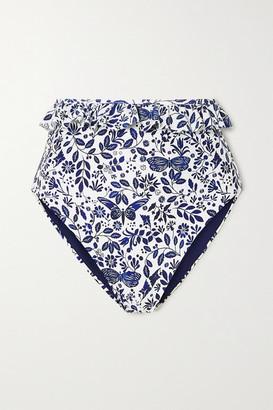 Agua Bendita Agua By Agua by Alicia Ruffled Printed Bikini Briefs - Blue