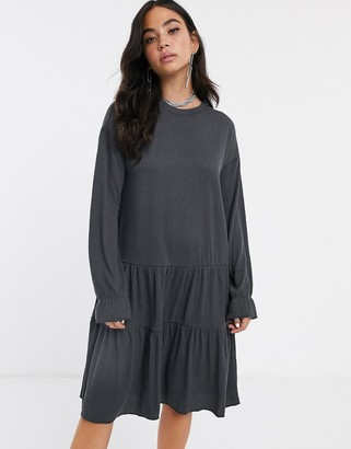 Noisy May oversized tiered sweater smock mini dress-Gray