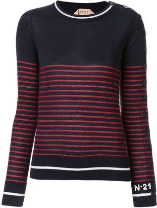 No.21 Striped Buttoned Sleeve Sweater