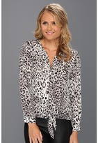 Joie Watson Front-Tie Silk Blouse (Steel) - Apparel