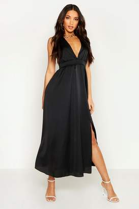 boohoo Satin Plunge Halter Neck Maxi Dress