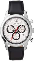 Links Of London Greenwich Noon Mens Stainless Steel Chronograph Black Leather Watch