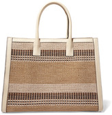 AERIN Textured Leather-trimmed Striped Straw Tote - Beige
