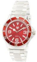 Fancy Face Women's FF0298-RE Red Sport Bezel Clear Plastic Watch