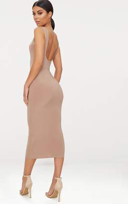 PrettyLittleThing Basic Taupe Scoop Neck Low Back Midaxi Dress