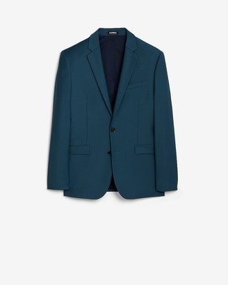 Express Extra Slim Teal Solid Performance Wool Blend Suit Jacket