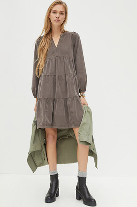 Maeve Laney Corduroy Tiered Tunic Dress By in Grey Size 2 X
