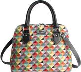 Signare Women's Handbags MultiColored - Red & Blue Geometric Triangle Convertible Satchel